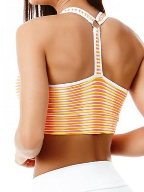 CAJUBRASIL 5655 Sexy Sports Bra Top Fusion Rainbow Stripes
