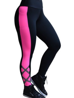 CAJUBRASIL 5938 Sexy Leggings Brazilian Street Black Pink
