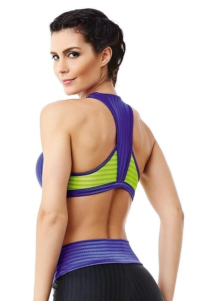 CAJUBRASIL 6260 Sexy Sports Bra Top Fusion Purple Neon Yellow