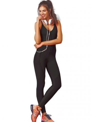 CAJUBRASIL 7576 Sexy Workout  Romper Jumpsuit Graphic Black