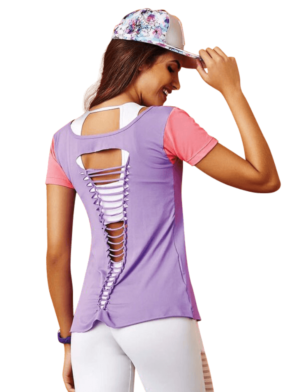 CAJUBRASIL 7535 Sexy Yoga Top - Workout T-Shirt-Laser Cut