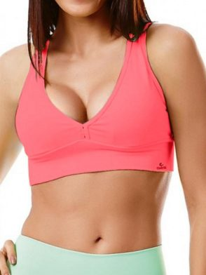 CAJUBRASIL 2945 Sexy Sports Bra Top SU Basic UP Rosa Aurora