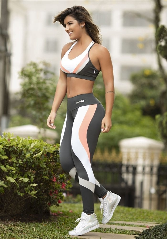 OXYFIT Leggings and Bra Top Colors Charcoal- Sexy Yoga Set