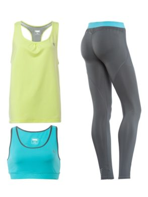 FREDDY WR.UP SHAPING EFFECT – LOW WAIST – SKINNY – D.I.W.O. TECHNICAL FABRIC – 3 PIECE SET: LEGGINGS + SPORTS BRA + TANK TOP