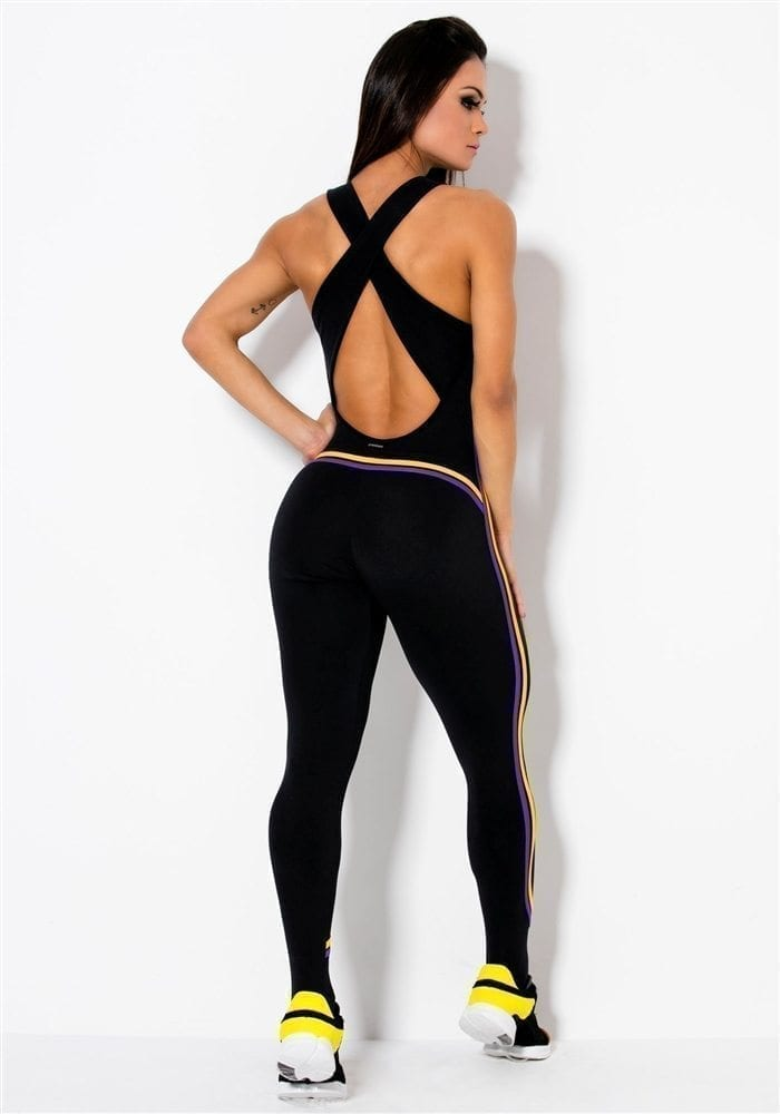 CANOAN Jumpsuit 26041 Black w Lines Sexy One-Piece Romper