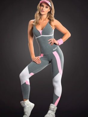 OXYFIT Jumpsuit Section 15191 Jersey White - Sexy Rompers, Cute Workout 1-Piece