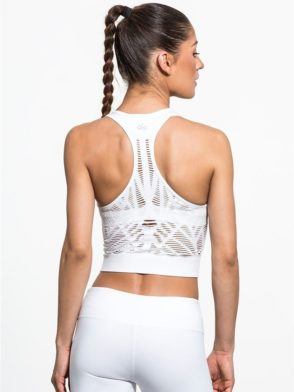 ALO Yoga Vixen Fitted Crop Tank Top - Sexy Yoga Tops White