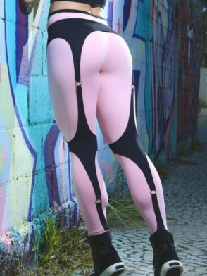 DYNAMITE Brazil Leggings L989-2333 Quartz Black Suspender Sexy Workout Leggings