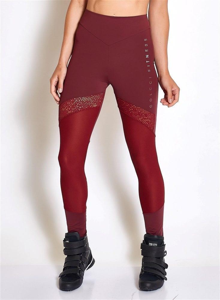 COLCCI FITNESS Leggings 25700231 Sexy Mesh Design Burgundy