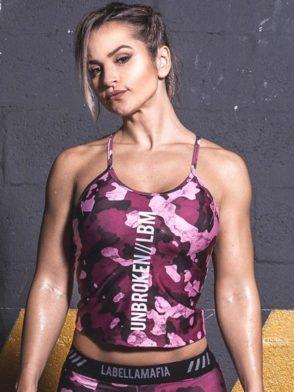 LABELLAMAFIA Crop Top FBL11869 Storm Pink Camo