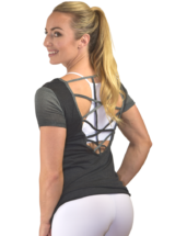 CAJUBRASIL T-Shirt 9025 Love-Sexy Workout Top-Yoga Top Charcoal