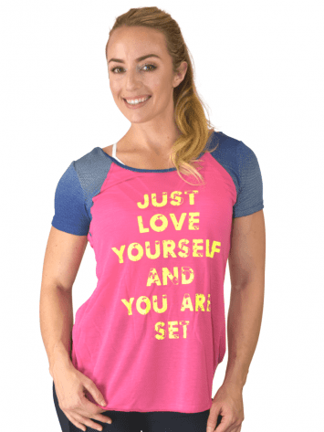 CAJUBRASIL T-Shirt 9025 Love-Sexy Workout Top-Yoga Top Coral