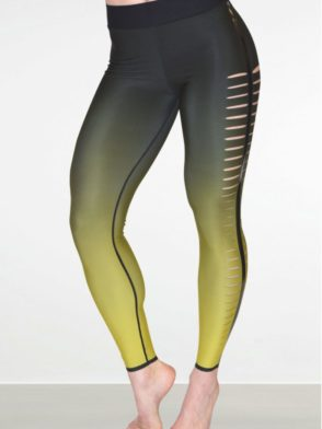 ULTRACOR Leggings Yellow Ombre Slash Sexy Workout Clothes