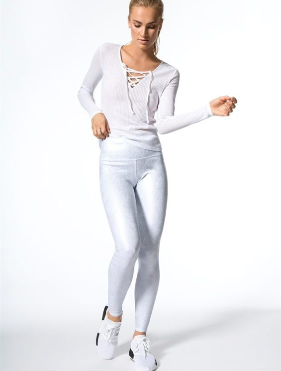 ALO Yoga Interlace Long Sleeve Top - Sexy Yoga Top - white