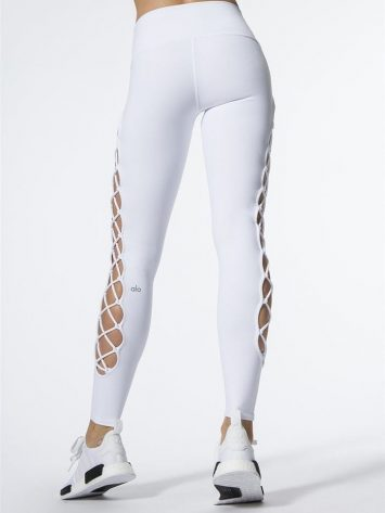 ALO Yoga Interlace Leggings Sexy Yoga Pants - white