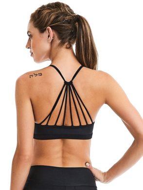 CAJUBRASIL Sports Bra 9071 Mesh Fashion Sexy Bra Top Yoga Bra BK