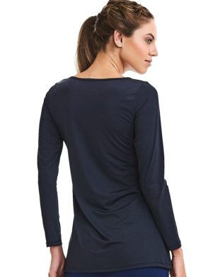 CAJUBRASIL Long Sleeve Shirt 9073-Sexy Workout Top-Yoga Top Black