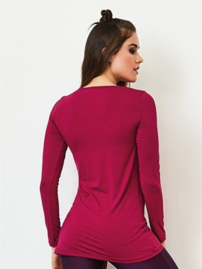 CAJUBRASIL Long Sleeve Shirt 9073-Sexy Workout Top-Yoga Top Raspberry