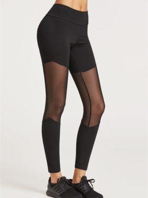 ECO Black Mesh Insert Leggings Yoga Pilates Leggings Black