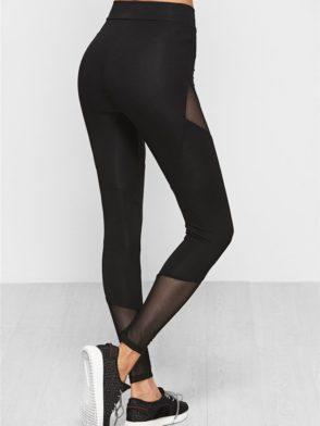 ECO Black Mesh Insert Splice Leggings Yoga Pilates Leggings Black