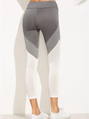 ECO Color Block Wide Waistband Leggings Yoga Pilates Leggings Black