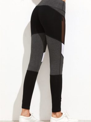 ECO Color Block Mesh Insert Leggings Yoga Pilates Leggings Black
