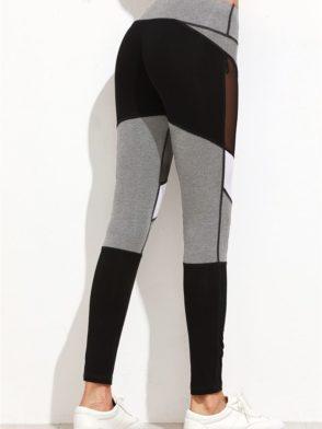 ECO Color Block Jersey Mesh Insert Leggings Yoga Pilates Leggings Black