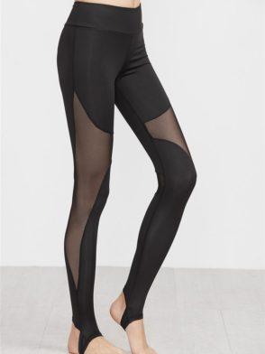 ECO Black Costrast Sheer Mesh Stirrup Leggings Yoga Pilates Leggings Black
