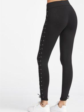 ECO Black Eyelet Lace Up Side Leggings Yoga Pilates Leggings Black