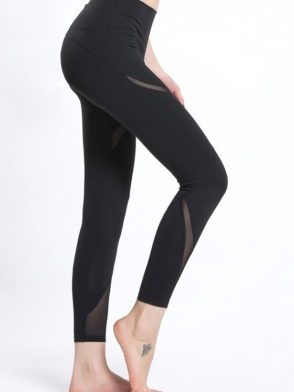 ECO Mesh Insert skinny Leggings Yoga Pilates Leggings Black