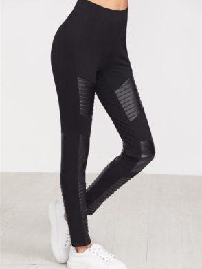 ECO Black Quilted Faux Leather Panel Leggings Yoga Pilates Leggings Black