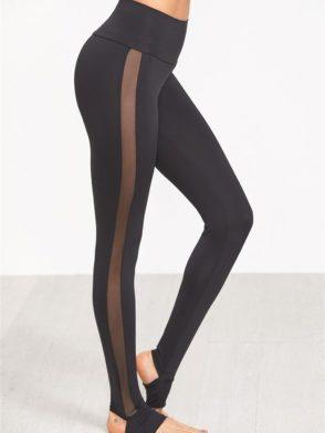 ECO Black Wide Waistband Mesh Insert Stirrup Leggings Yoga Pilates Leggings Black