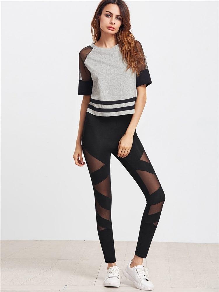 ECO Black Mesh Insert Striped Leggings Yoga Pilates Leggings Black