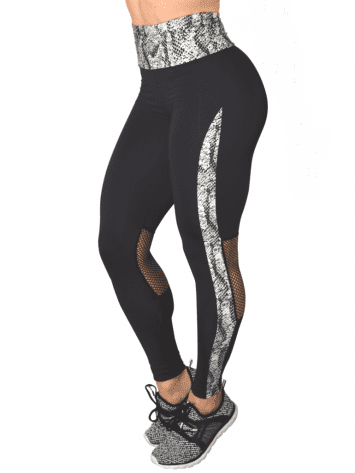 COLCCI FITNESS Leggings 25700222 Sexy White Python Mesh Design