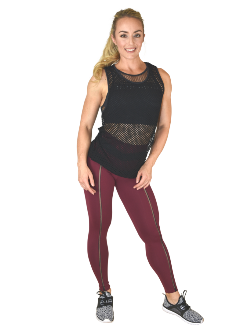 COLCCI FITNESS Leggings 25700242 Sexy Mesh Design Burgundy