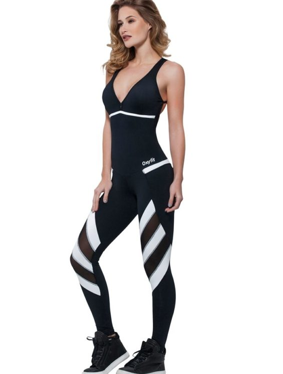 OXYFIT Jumpsuit Nevis 15195 Black White – Sexy Rompers, Cute Workout 1-Piece