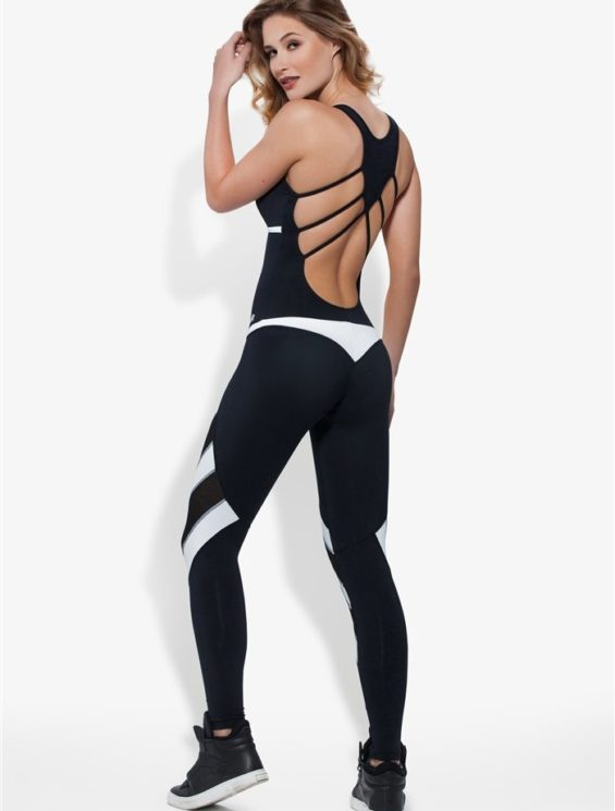 OXYFIT Jumpsuit Nevis 15195 Black White - Sexy Rompers, Cute Workout 1-Piece