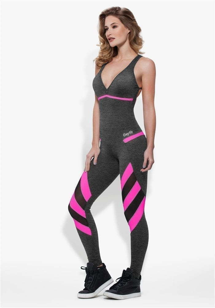OXYFIT Jumpsuit Nevis 15195 Charcoal Pink - Sexy Rompers, Cute Workout 1-Piece