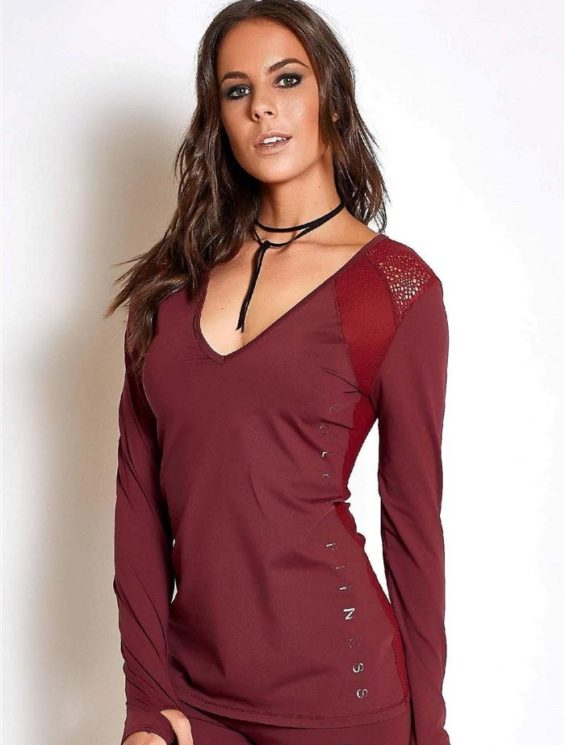 COLCCI FITNESS Long Sleeve Mesh Top 365700107 Burgundy
