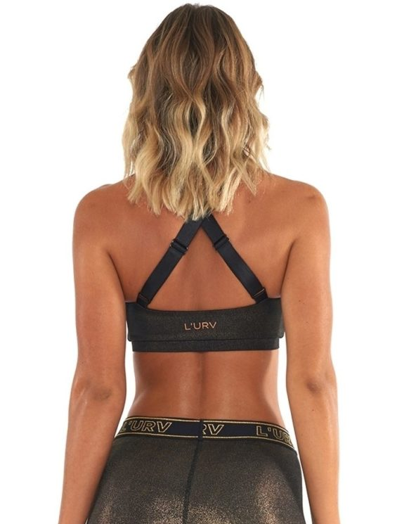L'URV Sports Bra All That Glitters Halter Bra Sexy Workout Top Black Gold