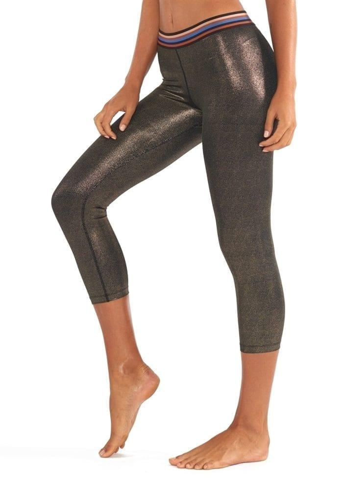 L'URV Leggings Disco City 3/4 Glitter Legging Sexy Workout Tights Black Gold