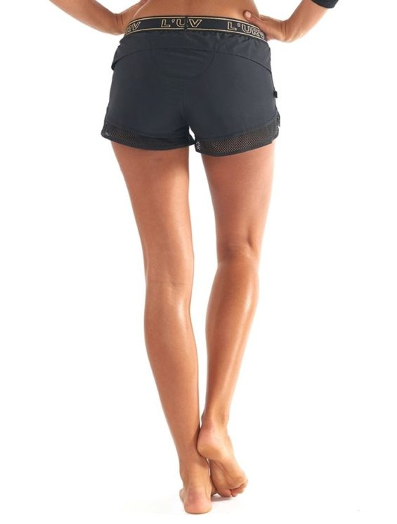 L'URV Shorts Energize Me Zip Shorts Sexy Workout Shorts Black