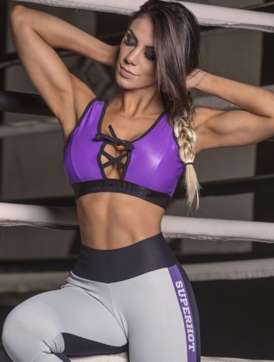 SUPERHOT Sports Bra TOP1225 Cute Yoga Sport Bra Purple