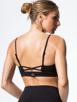 ALO Yoga Bra Interlace Bra -Sexy Workout Bra Tops Black