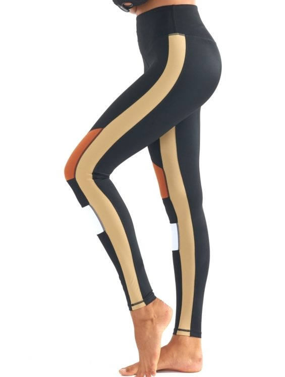 L'URV Leggings BURN IT UP Leggings Sexy Workout Tights Black LG Orange