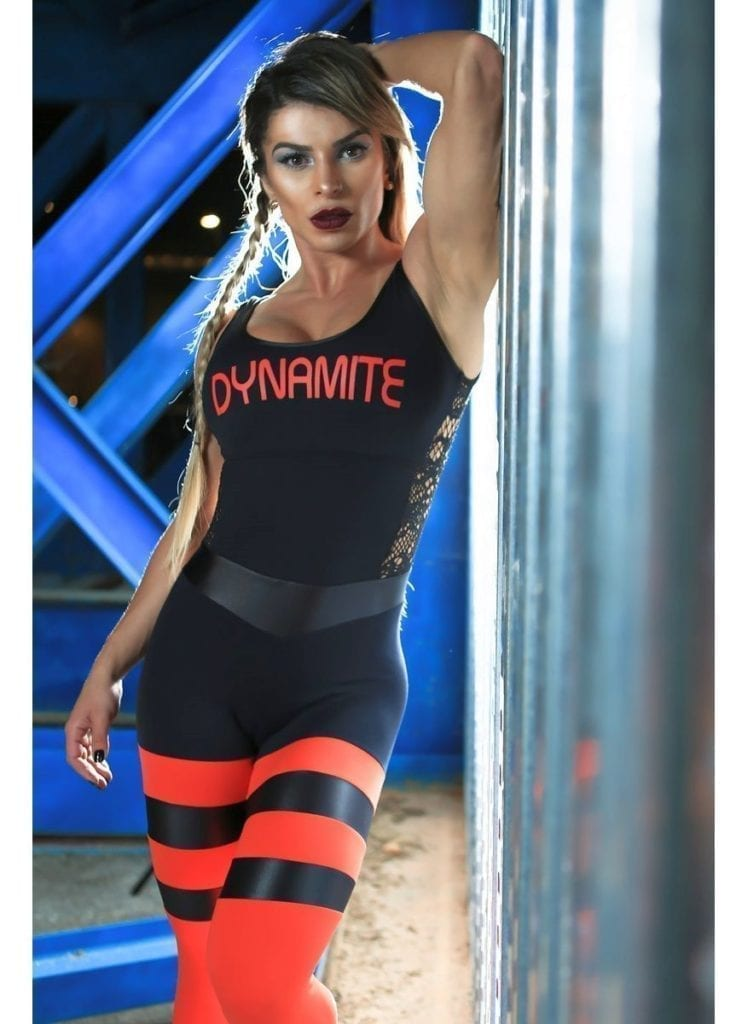 DYNAMITE Brazil Jumpsuit ML2093 Striped Flaming Overalls-Sexy One-Piece Romper