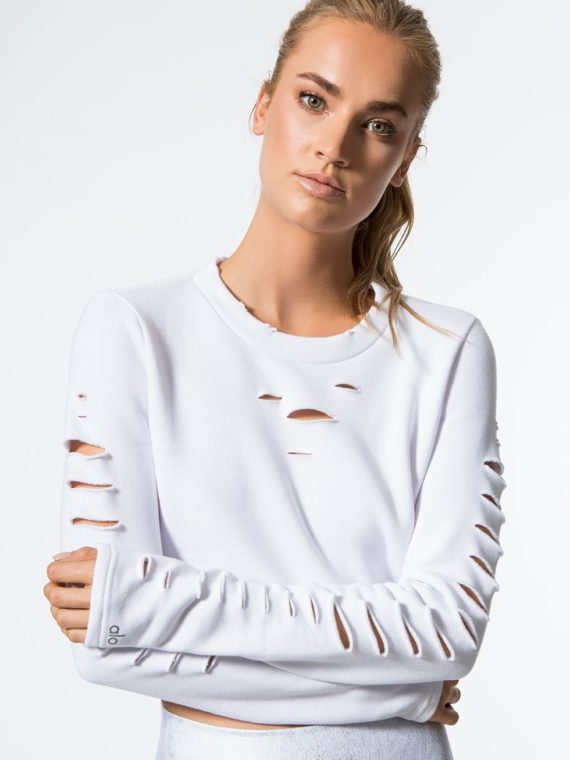 ALO Yoga Long Sleeve Top Ripped Warrior – Sexy Yoga Tops White