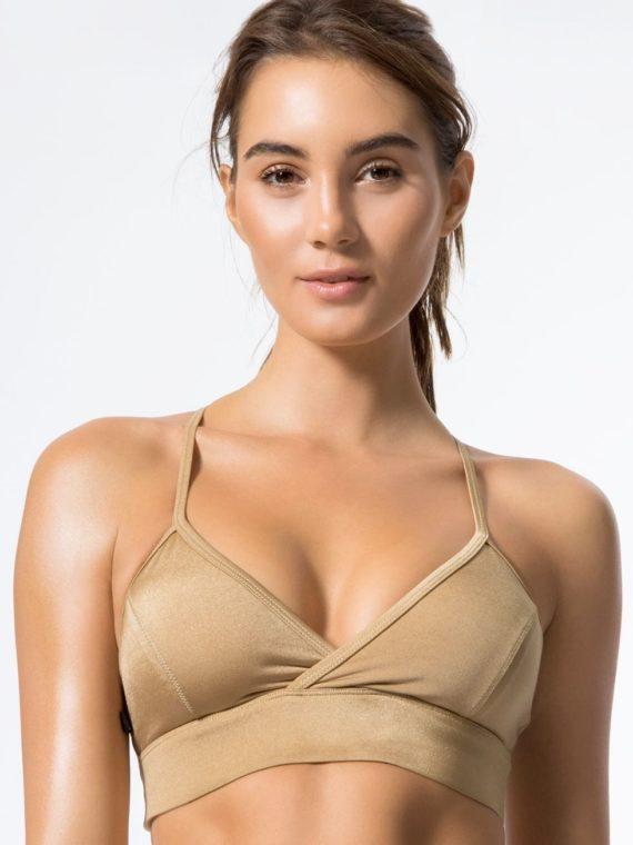 L'URV Sports Bra Shimmer Me Bralette Sexy Workout Top Lemon Gold