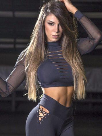 SUPERHOT Long Sleeve Crop Top BL1339 Wild Girl Sexy Workout Top
