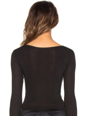ALO Yoga Amelia Top Long Sleeve Crop Top -Sexy Yoga Top Black